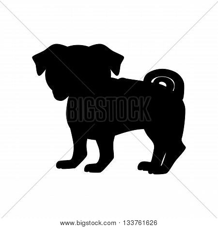 Flat pug pet illustration. Standing cute dog vector. Flat dog animal pet vector icon. Home cartoon pug spaniel in flat style. Dog black silhouette isolated on white background