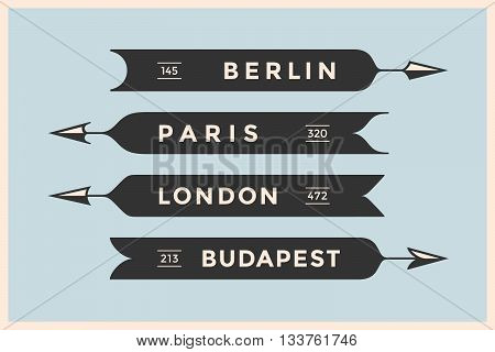 Set of vintage arrows and banners with names different cities. Berlin, London, Paris and Budapest. Old school black design elements in retro style for navigation sign on color background. Vector Illustration