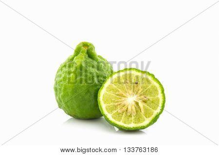 Kaffir Lime (Bergamot) on the white background.