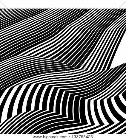 Optical Art Background Abstract Greyscale Artwork Black And White