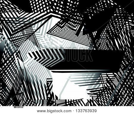 Optical Art Background, Op Art, Black And White Design Straiight Lines And Shapes