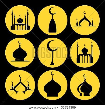 Icons set of dome of the mosque with crescent. Vector illustration