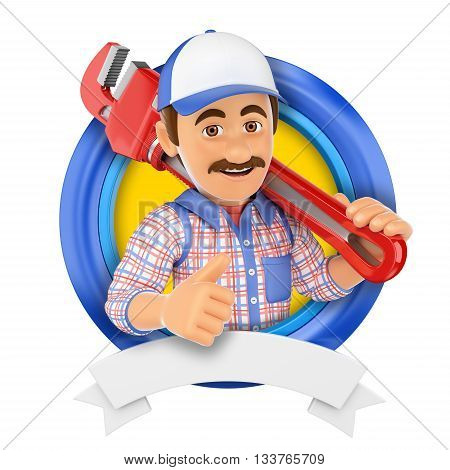3d logo illustration. Plumber with pipe wrench. Isolated white background.