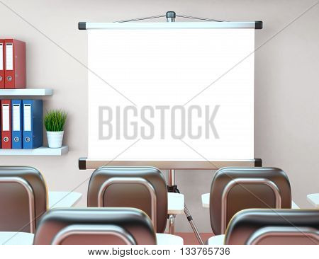3D Illustration workshop with blank projector screen. Office. Mockup