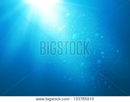 Abstract blue water background with sunbeams, backgrounds for your design, vector