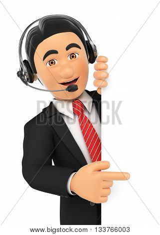 3d business people illustration. Call center employee pointing aside. Blank space. Isolated white background.