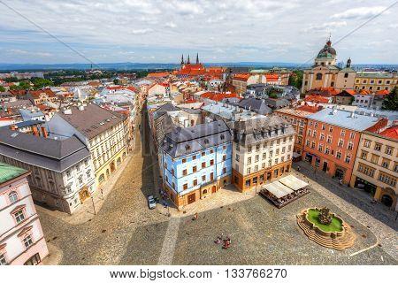 OLOMOUCa, CZECH REPUBLIC - JUNE 04, 2016: Scene from the old town of Olomouc, Czech Republic on June 04, 2016.