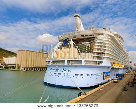 Barselona, Spaine - September, 6 2015: Royal Caribbean, Allure of the Seas is in port at startup in Barselona on September 6 2015. The second largest passenger ship constructed behind sister ship Oasis of the Seas.