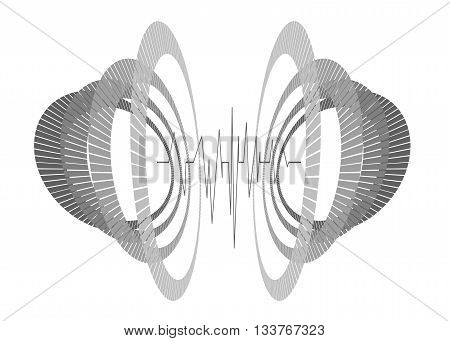 Abstract repeated monochrome circles in perspective with waveform. Futuristic equalizer in space. Minimal geometric 3d tech modern hipster background.