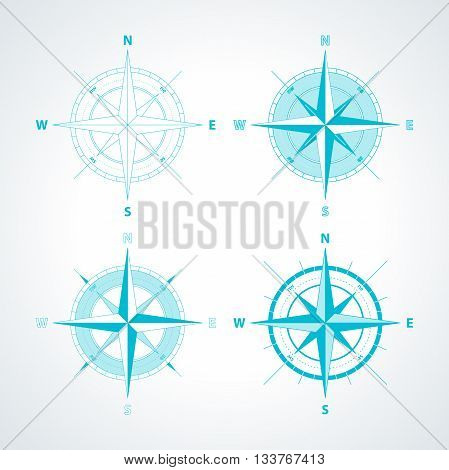 Set of Simple wind roses isolated on white background. Modern thin line compass icon illustration.