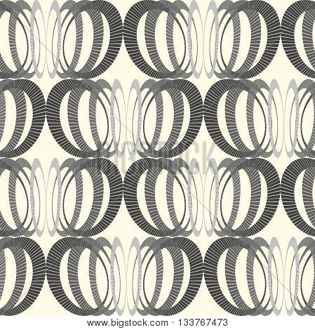 Hipster and vintage Vector geometrical monochrome seamless pattern with interweaving of circles. Decoration graphic in mono line style. Simple abstract ornamental gray and gold illustration.