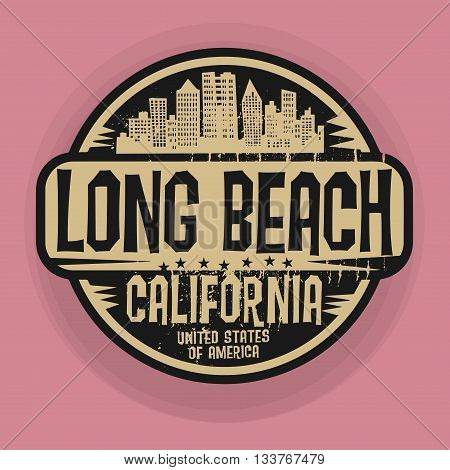 Stamp or label with name of Long Beach, California, vector illustration