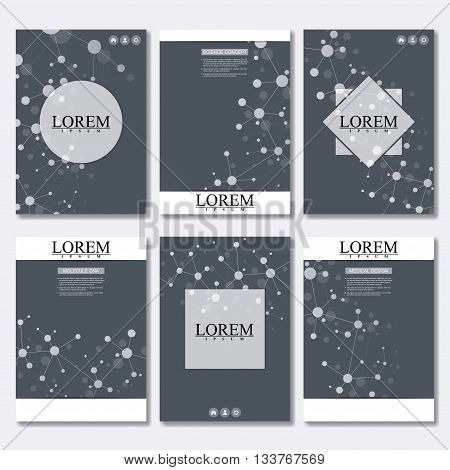 Vector brochure template, flyer, cover magazine in A4 size. Structure molecule of DNA and neurons. Abstract background. Medicine, science and technology. Vector illustration.