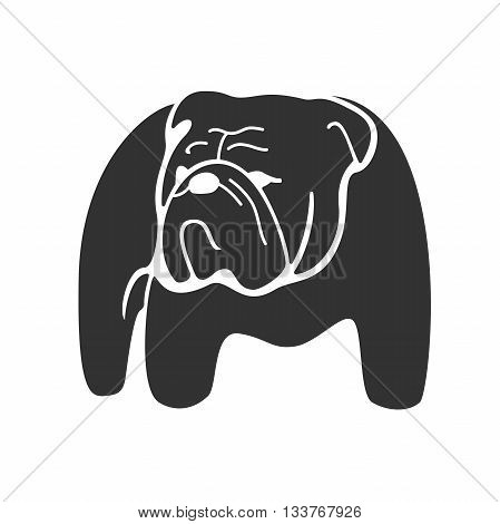 Bulldog monochrome silhouette. Monochrome hand drawn logotype of pointing bulldog isolated on white background. Easy editable. Vector concept design which can be used on print, cover or tattoo design.