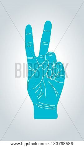 V sign hand gesture. Victory and peace gesture symbol. Two fingers gesture.