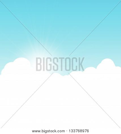 Blue sky background with clouds. Vector illustration