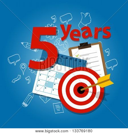 five years target plan in business and life calendar list of achievement vector