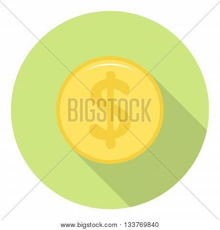 Dollar Golden Coin Icon Flat Style Design
