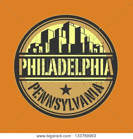 Stamp or label with name of Philadelphia, Pennsylvania, vector illustration