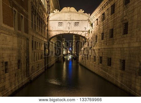 Famous Bridge of Sighs in Venice by night