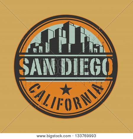 Stamp or label with name of San Diego, California, vector illustration