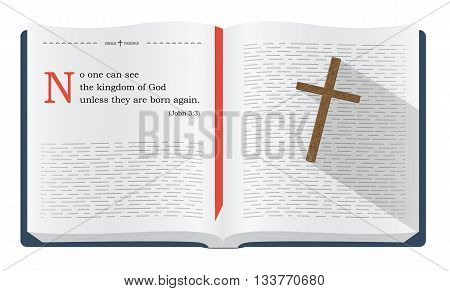 Best Bible verses to remember - John 3:3 saying about how we can see the kingdom of God. Holy scripture inspirational sayings for Bible studies and Christian websites illustration isolated over white background