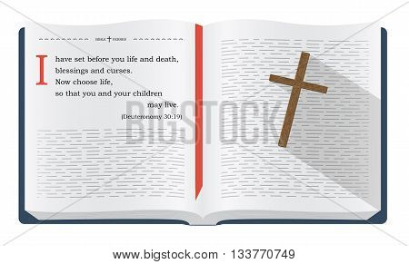 Best Bible verses to remember - Deuteronomy 30:19. Holy scripture inspirational sayings for Bible studies and Christian websites illustration isolated over white background