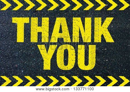 thank you yellow word on road background sign concept