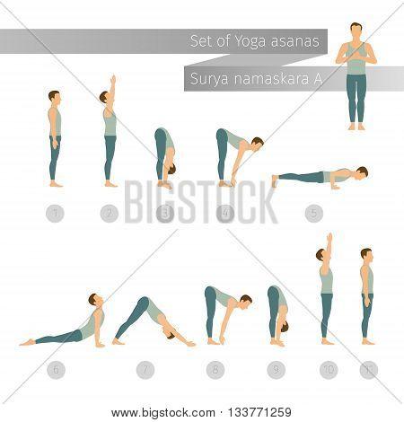 Vector yoga set in flat style. Surya namaskar A. Sun salutation complex. Ashtanga vinyasa yoga.