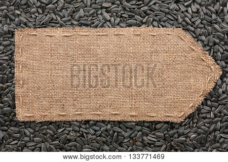 Pointer of burlap lying on a sunflower seeds background with place for your text