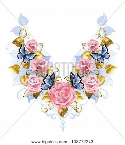 Symmetrical pattern of pink roses blue butterfly blue and gold leaf on a white background. Design with roses. Pink rose. Trendy colors. Rose Quartz and serenity.