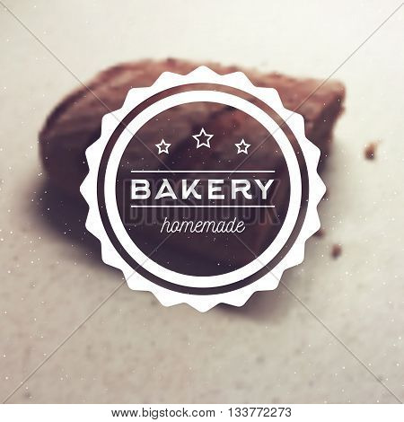 Bakery homemade - vector logo for bakehouse. Blurred background with craft bread. Web banner