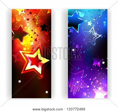 Two banners with bright abstract hot and cold glowing stars on a dark background. Design with stars. Design for a party. Bright color.
