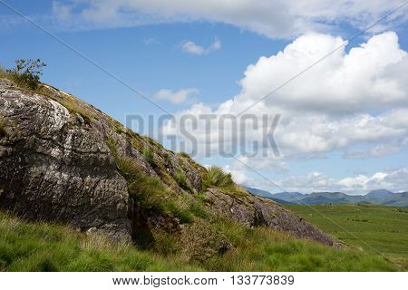view of a rocky landscape on a beautiful hiking route the kerry way in ireland