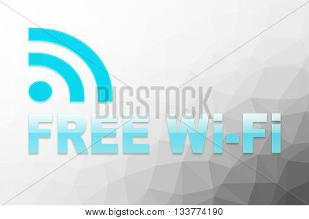 Free wifi sign on poly grey background