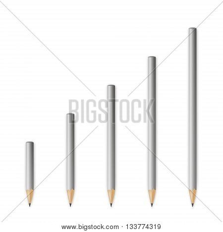 Gray wooden sharp pencils isolated on a white background. Vector EPS10 illustration.