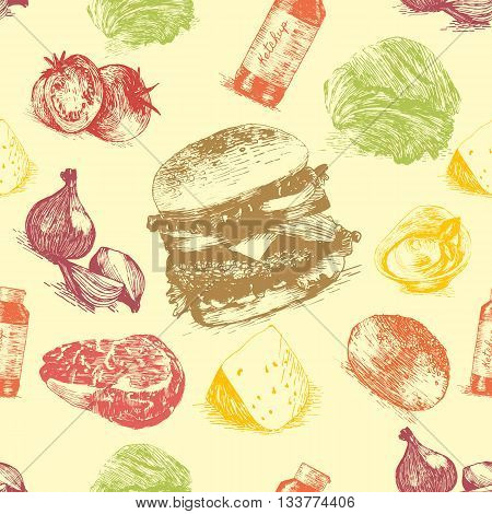 Vector illustration of classic burger ingredients in seamless background. Hand drawn colorful illustration on yellow background