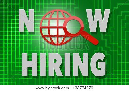 Now hiring word - on green background