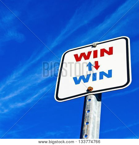 Win Win on blue sky for business concept