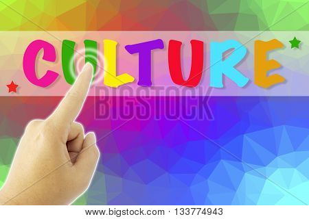 touching CULTURE sign on colorful low poly background