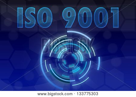 ISO 9001 word on blue geometric background