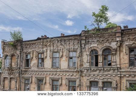 Abandoned building of the 19th century with the growing trees on the roof