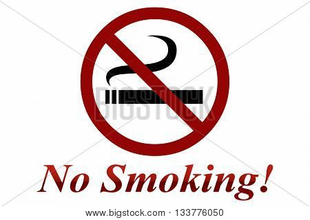 No Smoking Sign - on white background