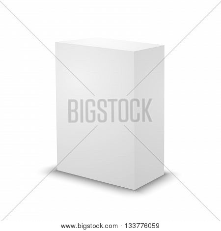 Blank white prism on white background. 3d box template