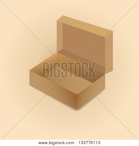 Realistic open cardboard box with shadow isolated on a light background vector illustration.