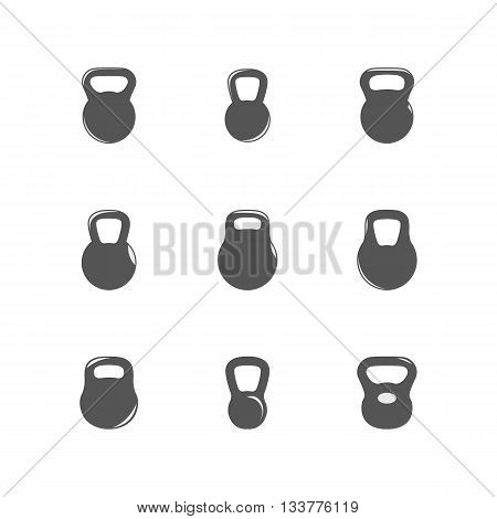 Set kettlebells gray icons isolated on white background vector illustration.
