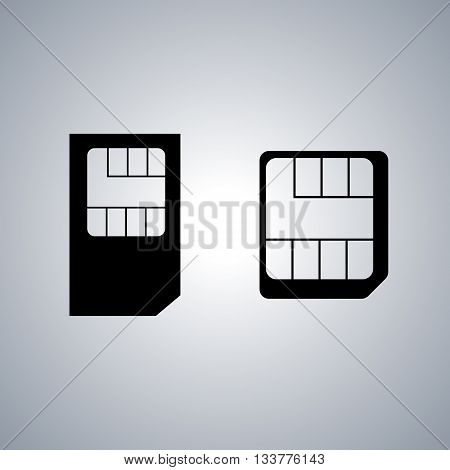 Set of black icons SIM card vector illustration.