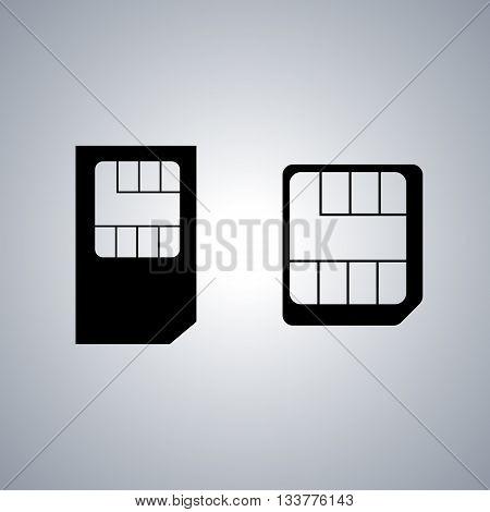 Set of black icons SIM card vector illustration.