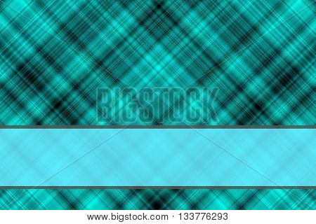 Cyan and black checkered illustration with cyan banner