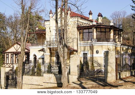 Kislovodsk, Russia - 28 February, The original house on the street Dzerzhinsky, 28 February, 2016. Resort zone Mineral Waters, Krasnodar region.